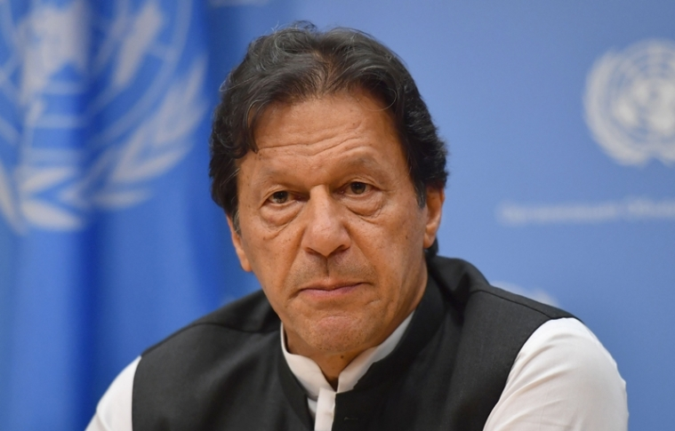 Pakistani Prime Minister Imran Khan speaks during a press conference at the United Nations Headquarters in New York on September 24, 2019. - Khan said Tuesday that both the United States and Saudi Arabia asked him to mediate with Iran to defuse tensions. (Photo by Angela Weiss / AFP)