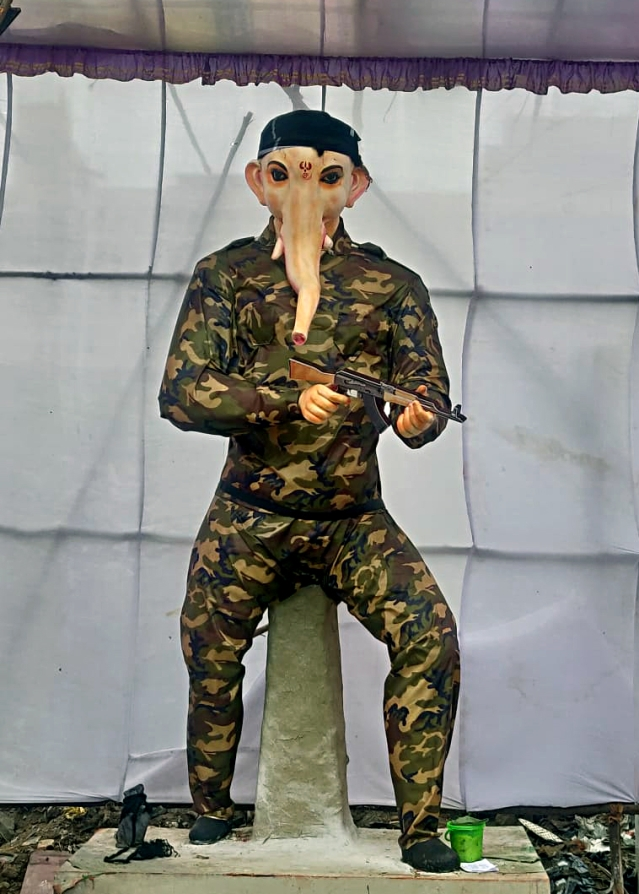 Tamil Nadu: An idol of Lord Ganesha in army dress installed in a pandal on the occasion of Ganesh Chaturthi festival