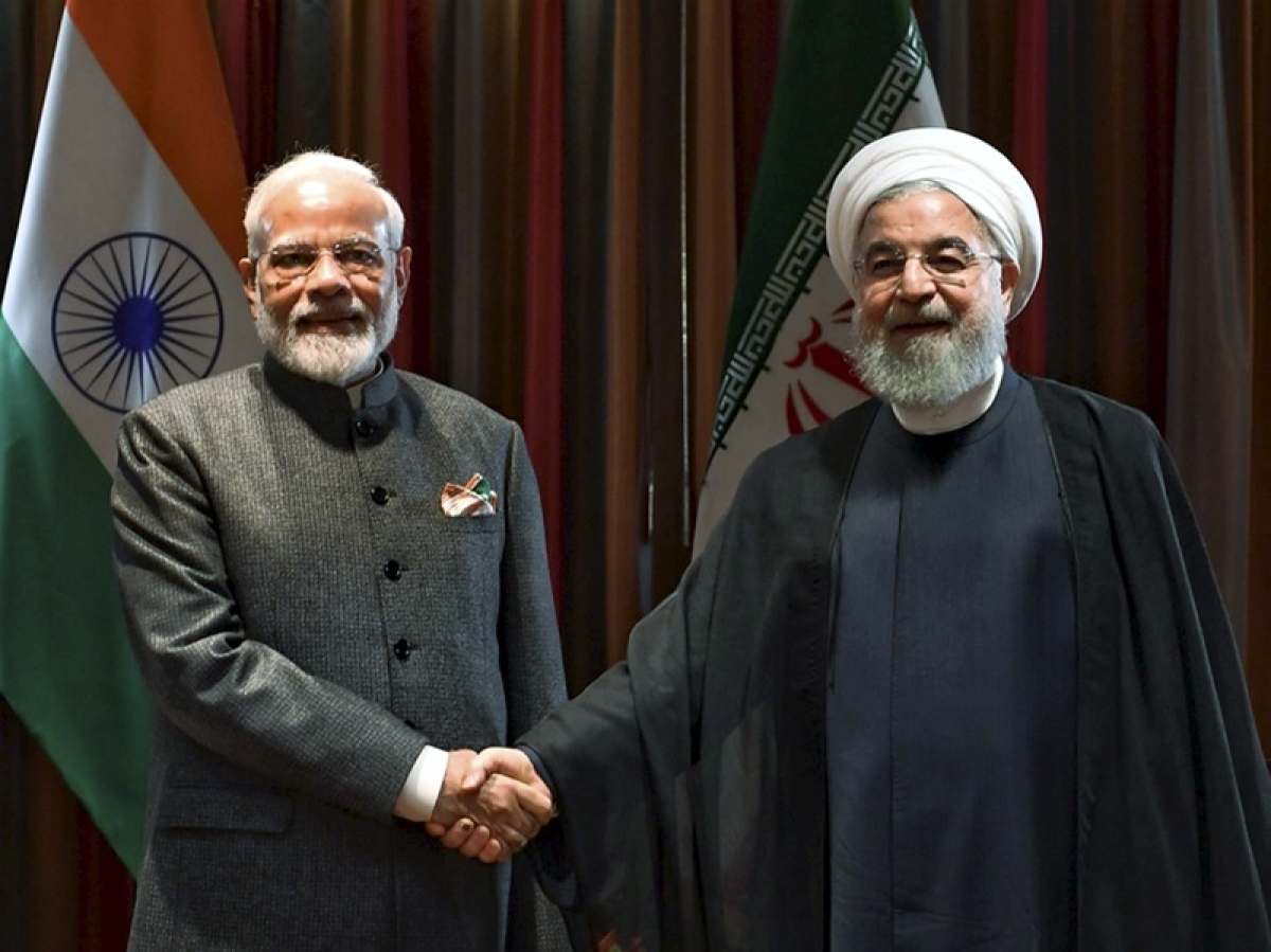 New York: Prime Minister Narendra Modi and President of the Islamic Republic of Iran Hassan Rouhani during a meeting in New York, Thursday, Sept. 26, 2019. (PTI Photo)(PTI9_26_2019_000256B)