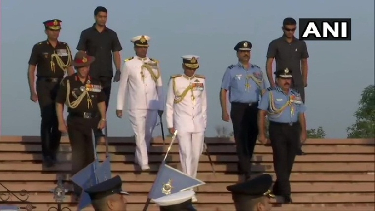 Air Force Day: Chiefs of Army, Navy, Air Force pay tributes at National War Memorial