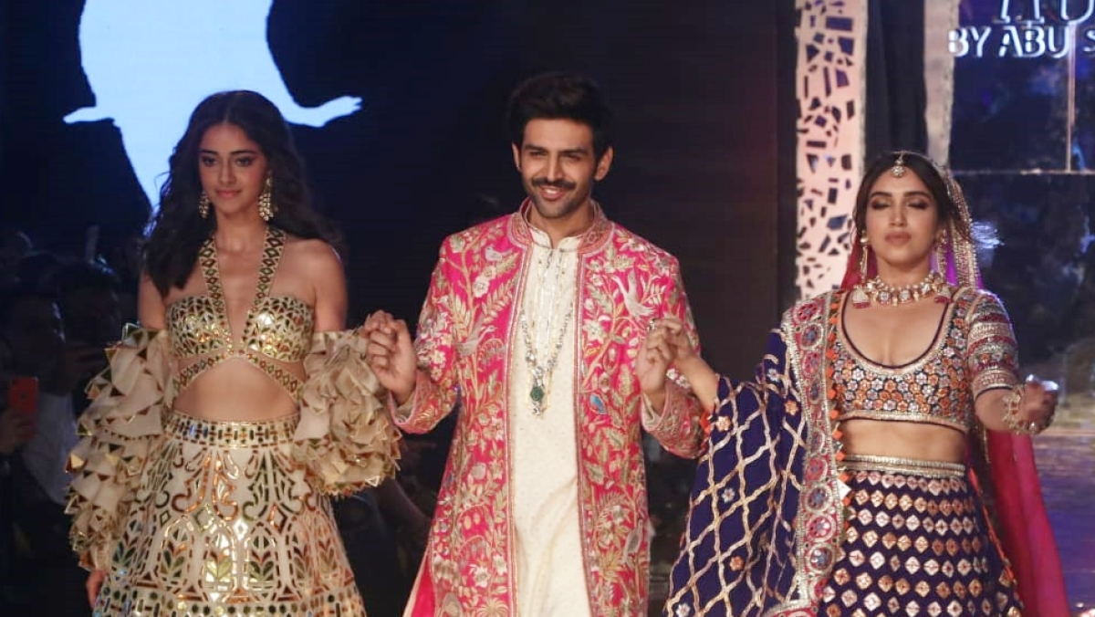Kartik, Bhumi, Ananya sizzle on the runway as showstoppers for Abu Jani and Sandeep Khosla