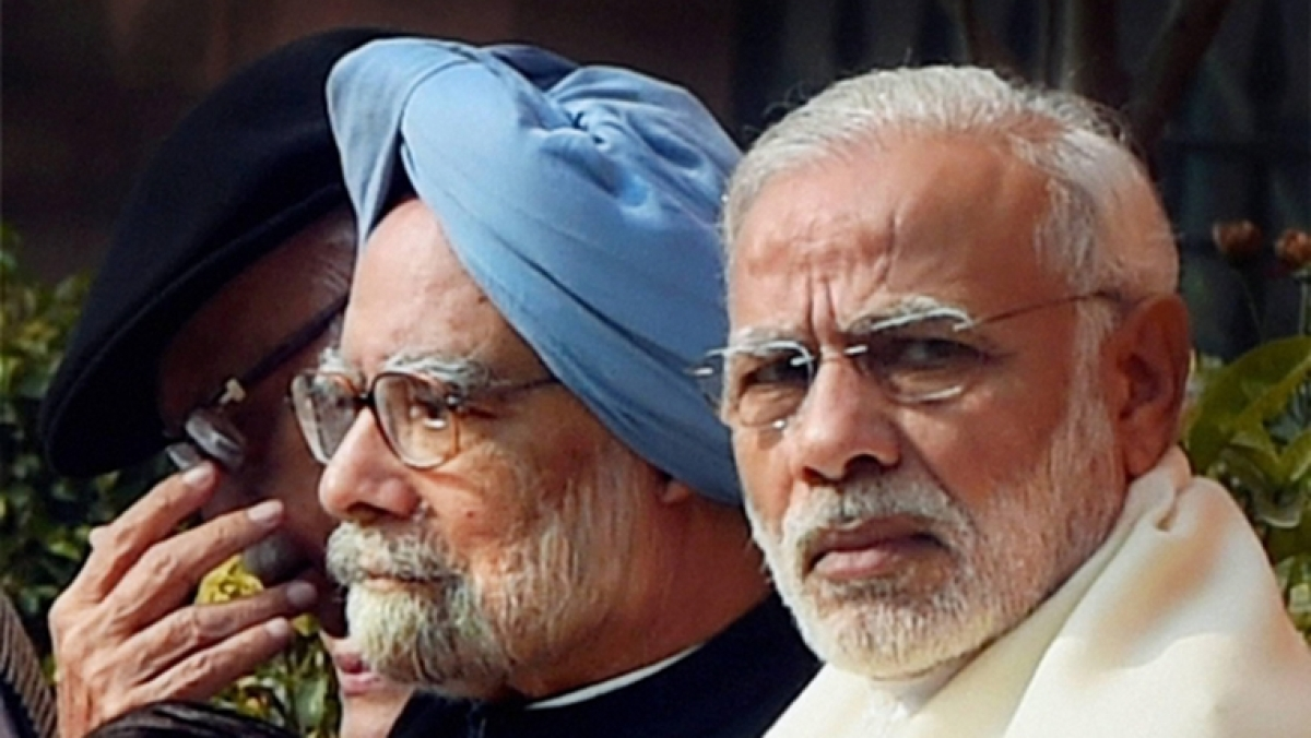 (from left)former PM Manmohan and PM Narendra Modi