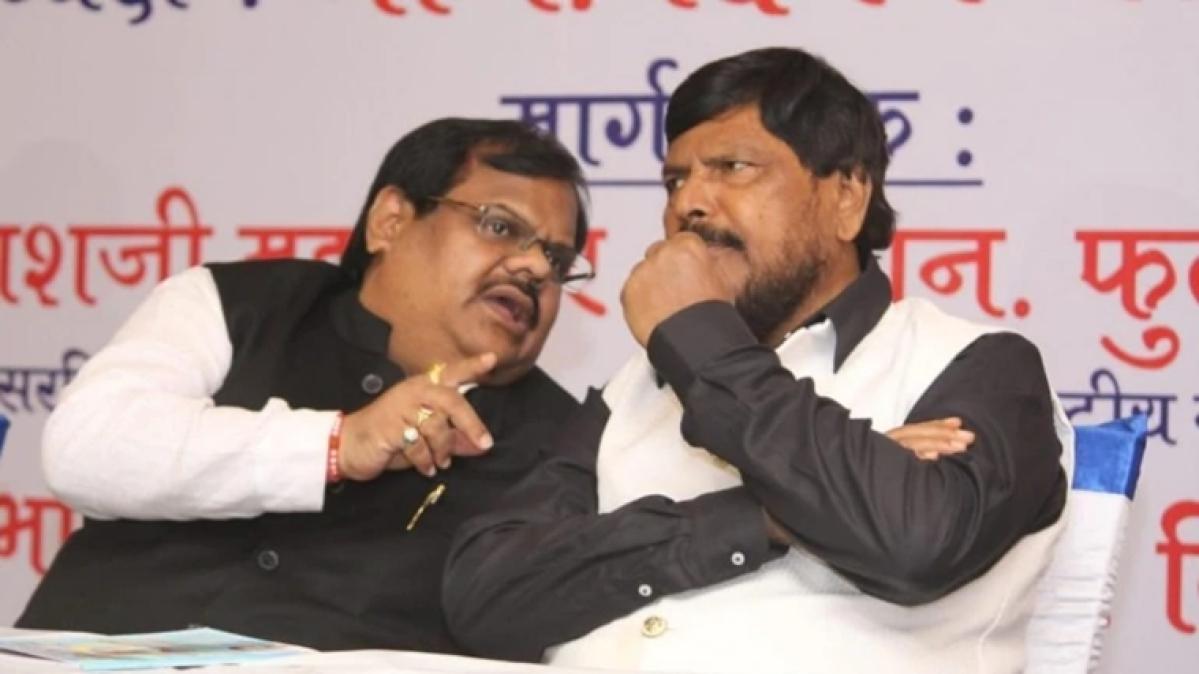 Chhota Rajan's brother Deepak Nikalje (L) with Union Minister Ramdas Athawale.