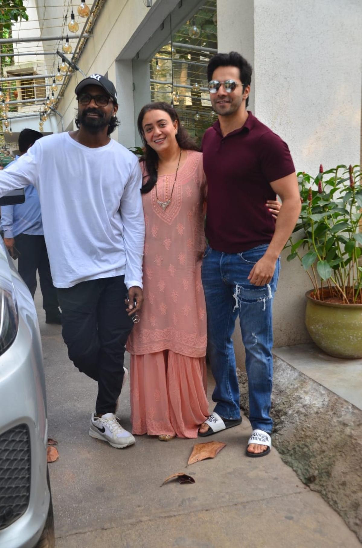 Varun Dhawan and Ananya Panday snap at dubbing studio in Juhu