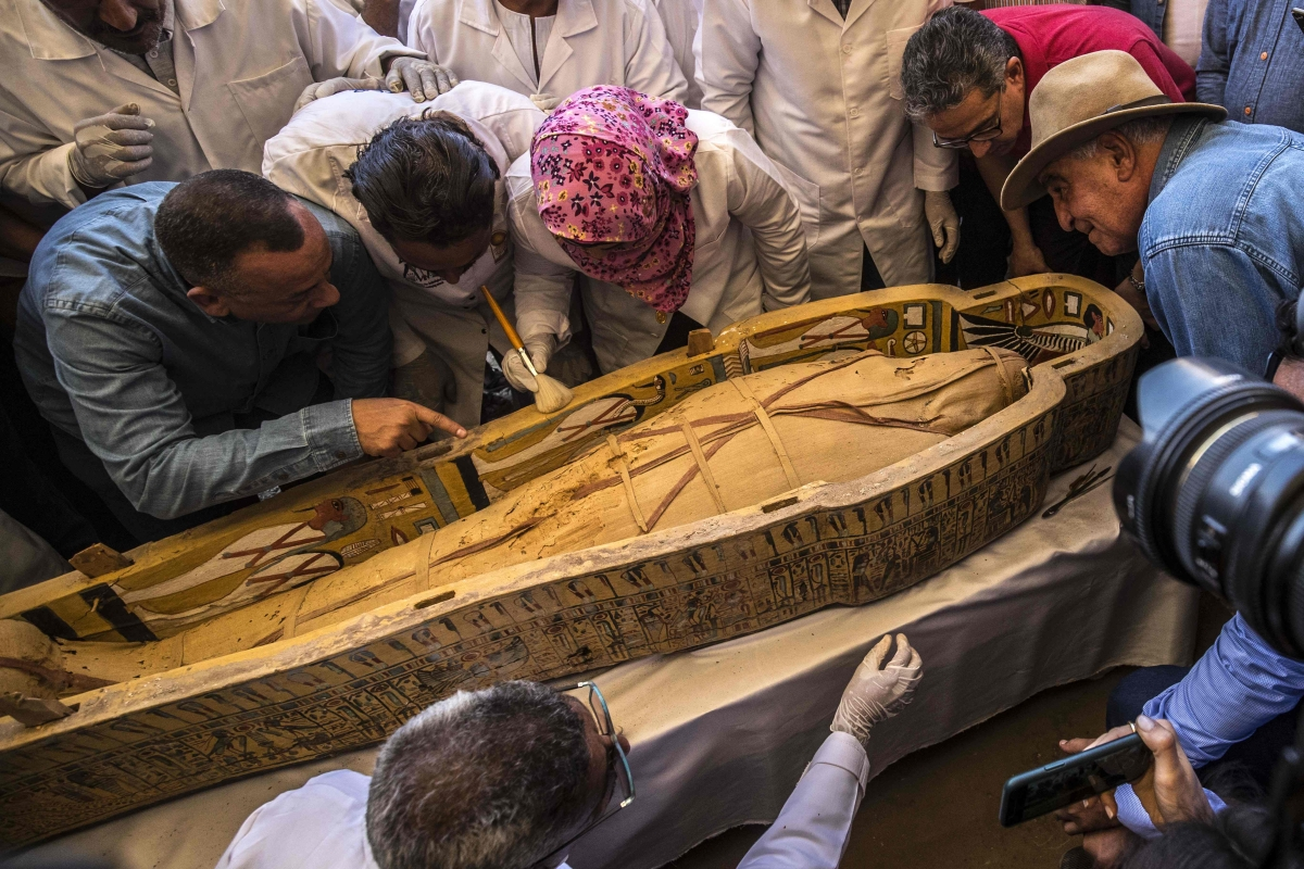 Egypt unveils priceless trove of 30 ancient coffins