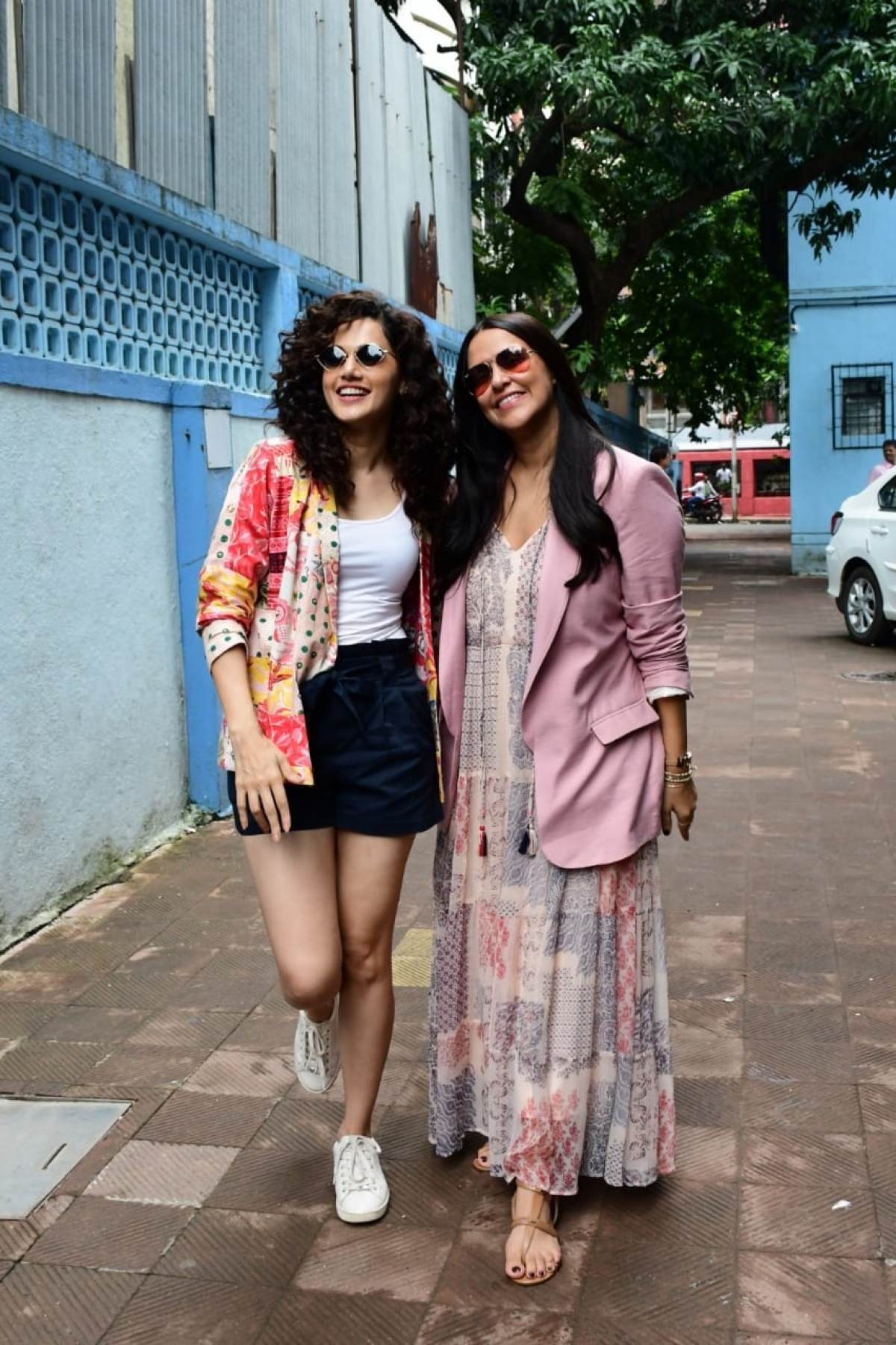 Neha Dhupia  spotted with Taapsee Pannu after the recording of her podcast show No Filter Neha - Season 4