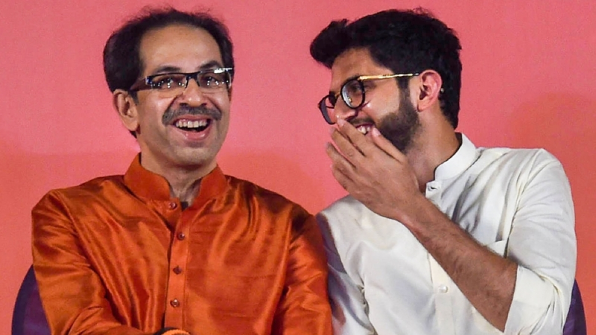 Uddhay Thackeray (L) with son Aditya Thackeray