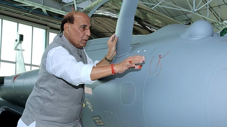 Rajnath Singh before boarding the Rafale