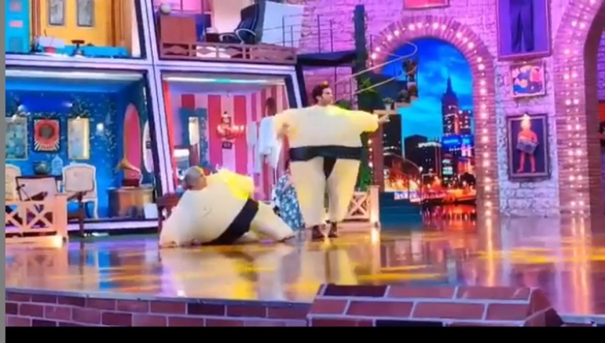 Rajkummar Rao dances to Ami Je Tomar, dressed as a sumo wrestler