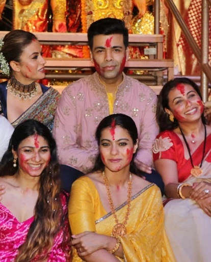 Karan Johar, Rani, Kajol come together for 'Sindur Khela' on last day of Durga Puja