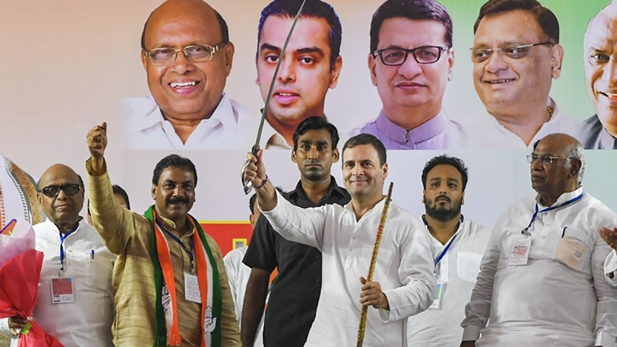 Mumbai: Former Congress president Rahul Gandhi holds a sword at a joint Congress-NCP rally ahead of Maharashtra Asembly elections, in Mumbai.