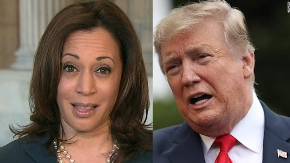 (from left)Democrat presidential candidate Kamala Harris and US President Donald Trump