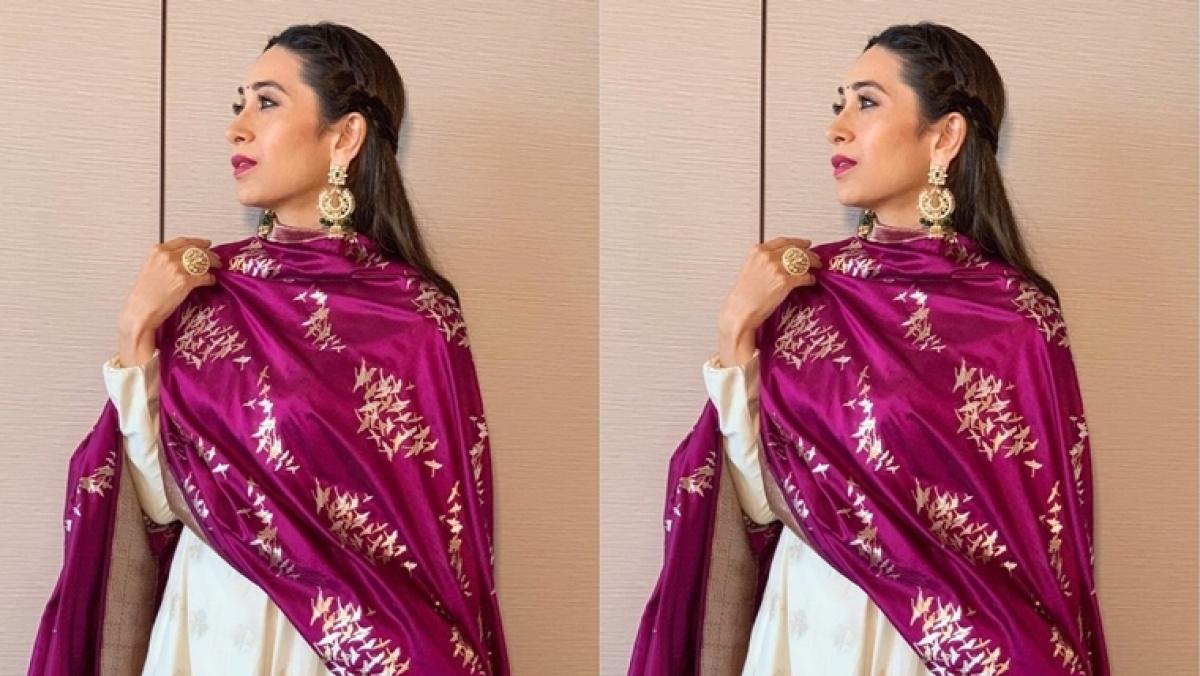 Grab Karisma Kapoor's Benarasi style Durga Puja outfit for Rs 60,000