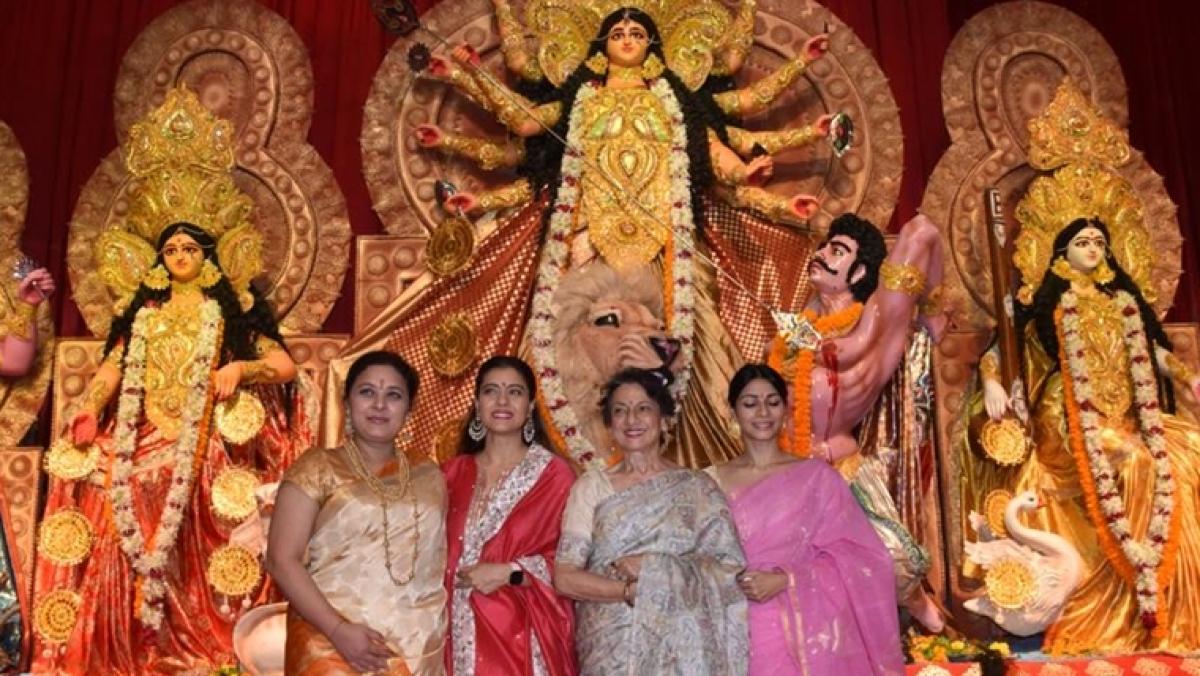 In Pics: Kajol spotted at Durga Puja with mom Tanuja, and sister Tanishaa Mukerji