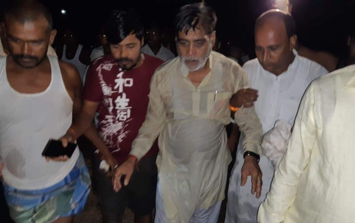 Neta in troubled water: BJP MP Ram Kripal Yadav falls in during Bihar Floods inspection