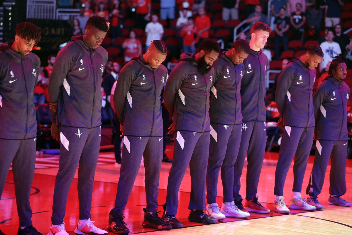 Houston Rockets take a moment of silence in honor of Deputy Sandeep Dhaliwal of the Harris County Sheriffs Office.