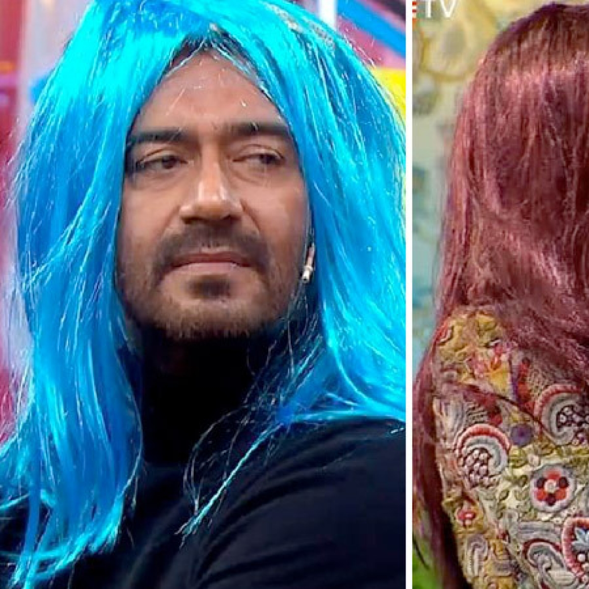 Why are Ajay Devgn and Kajol wearing colourful wigs? Watch video