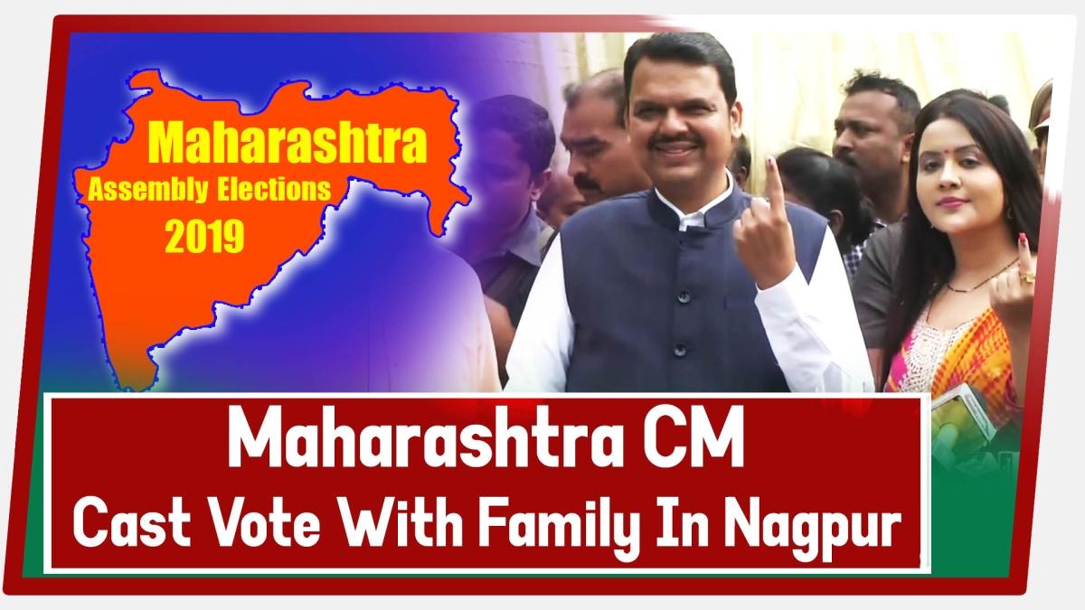 Maharashtra Chief Minister Devendra Fadnavis cast vote with family in Nagpur