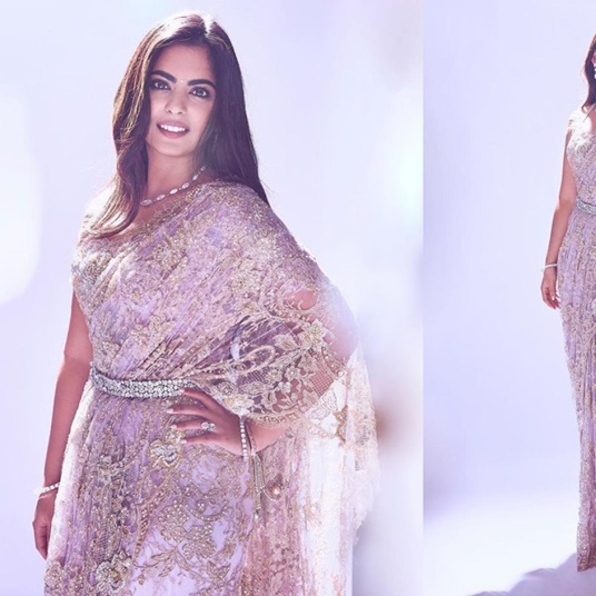 Isha Ambani looks ethereal in a lilac French lace saree, see pics