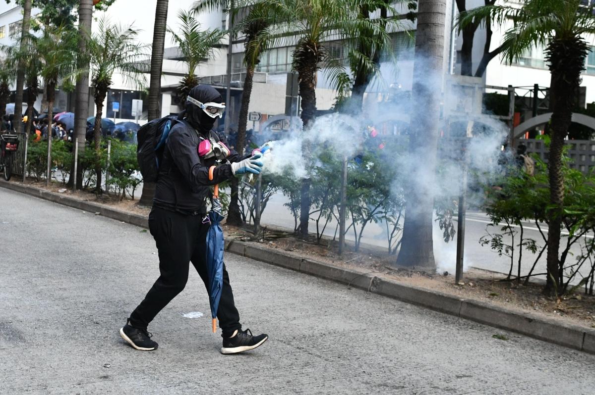 Hong Kong protesters clash with police at key campus battleground