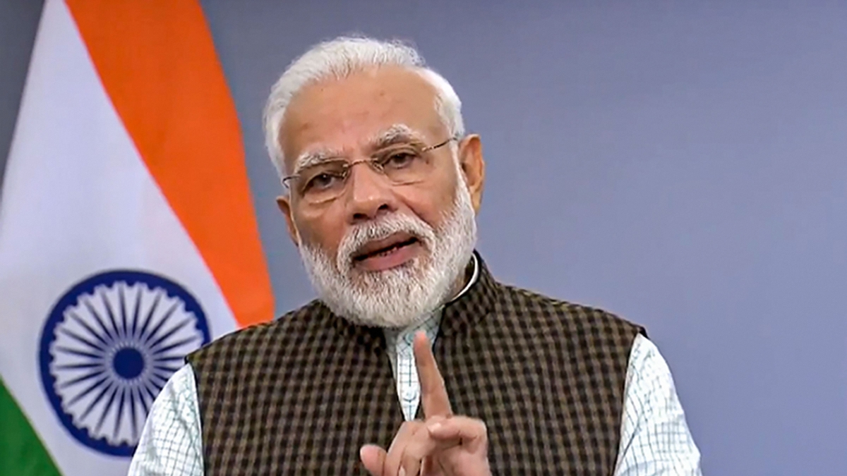 Prime Minister Narendra Modi addresses the nation in New Delhi.