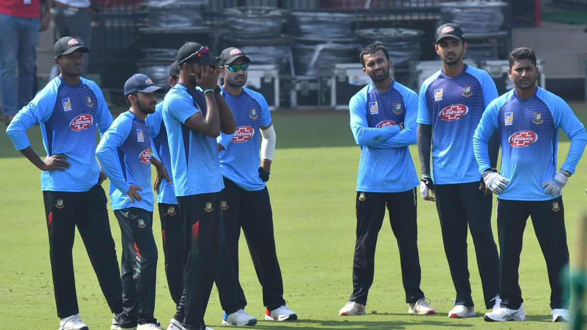 Bangladesh cricketers stand together during a training session at Holkar Cricket Stadium in Indore on Tuesday, ahead of the first Test match between India and Bangladesh