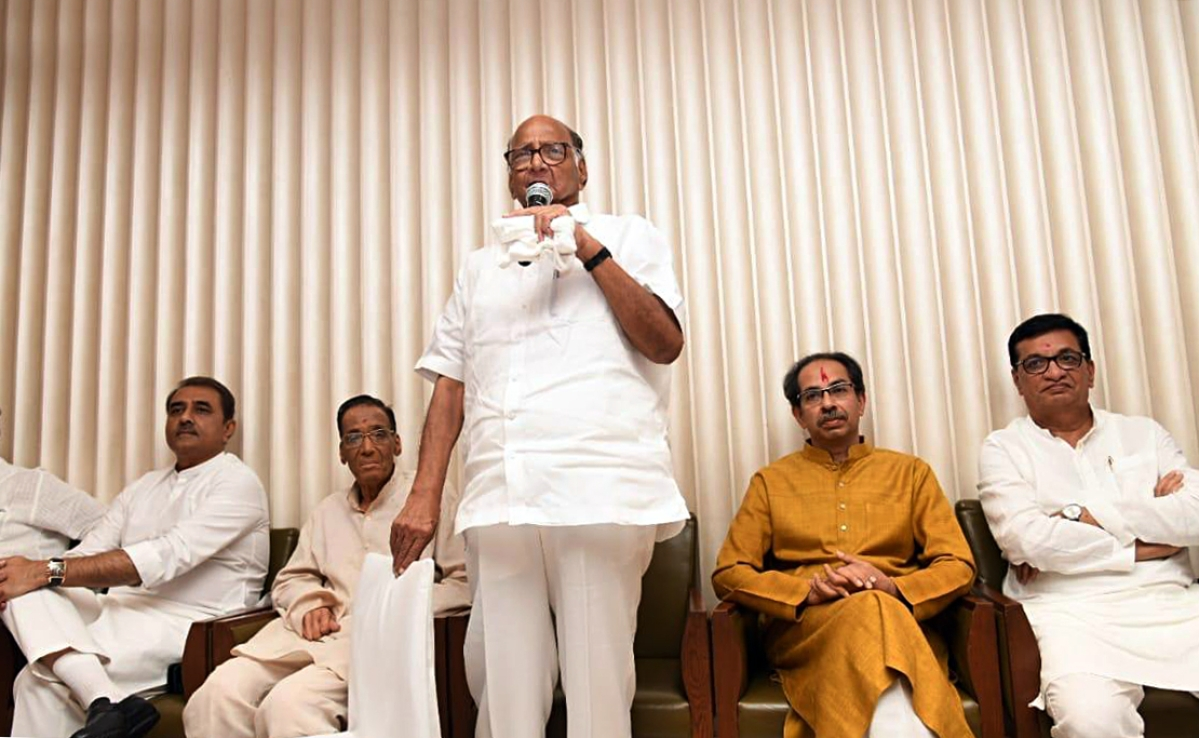 NCP chief Sharad Pawar addresses a joint meeting of NCP, Congress and Shiv Sena leaders with MLAs, at Hotel Trident in Mumbai on Tuesday.