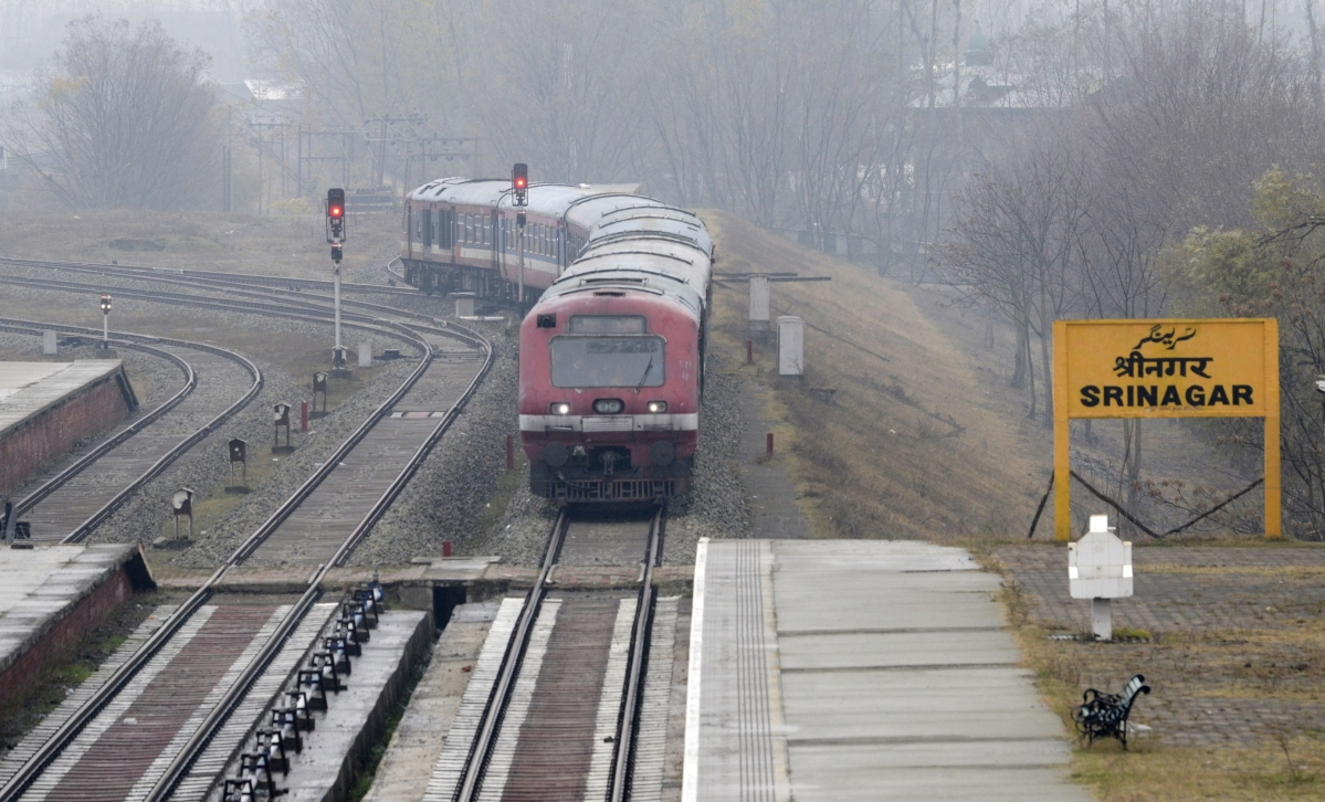 A train is being run for trail on the track as the service resumed in Srinagar.