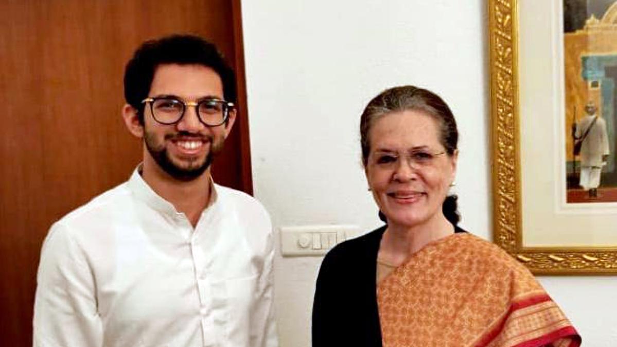 Shiv Sena leader Aaditya Thackeray and Congress president Sonia Gandhi