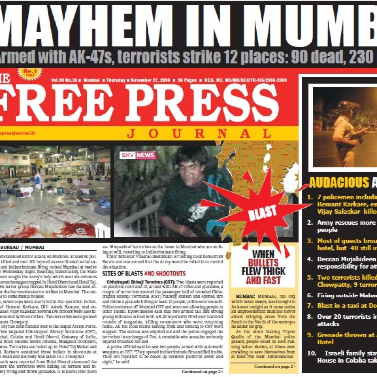 26/11 Terror Attacks: How The Free Press Journal covered Mumbai's Black Day