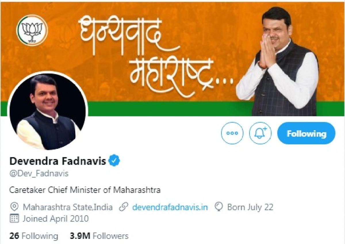 Another bio change for Fadnavis, now he's 'Caretaker CM'