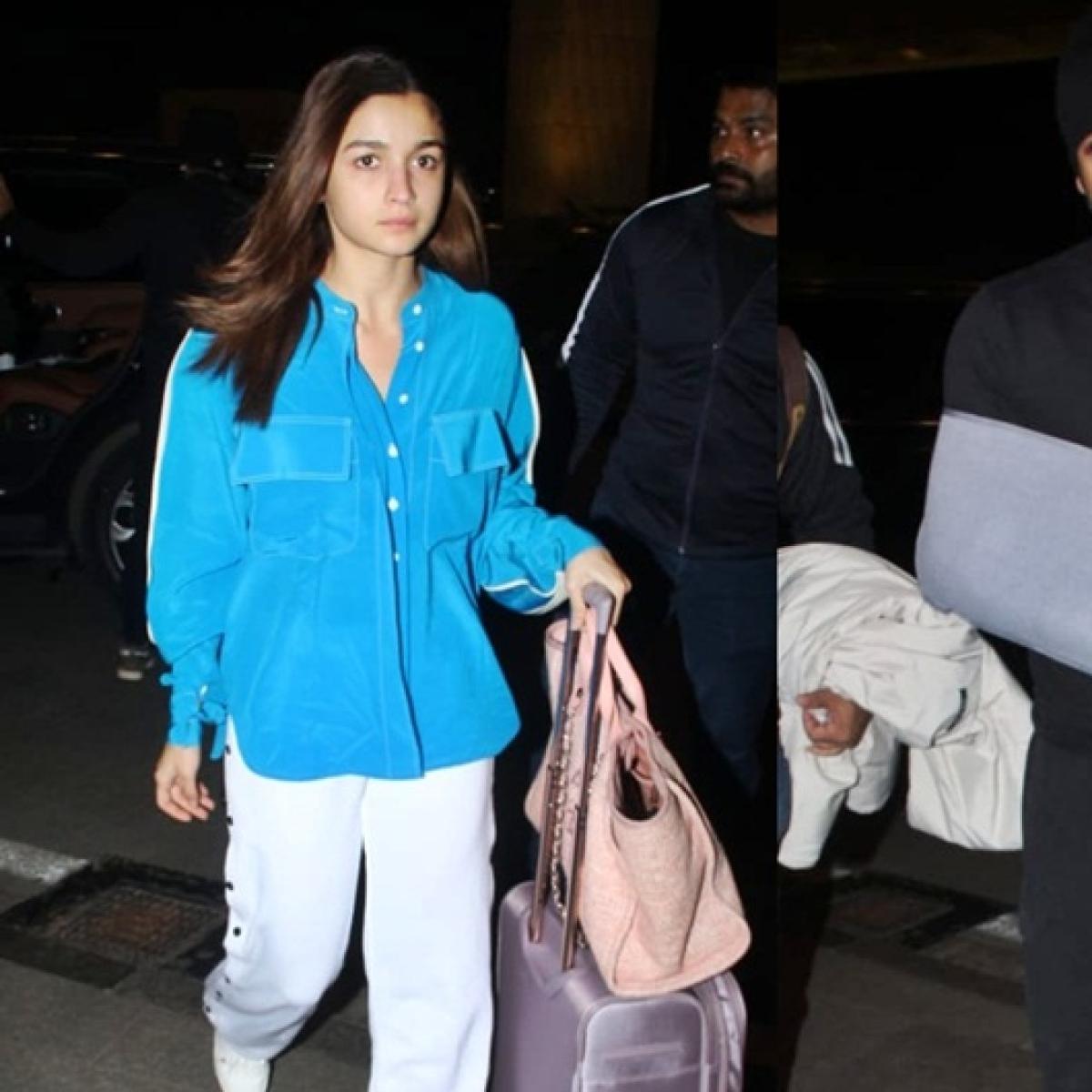Alia Bhatt's got no chill as she walks ahead of an injured Ranbir Kapoor at the airport