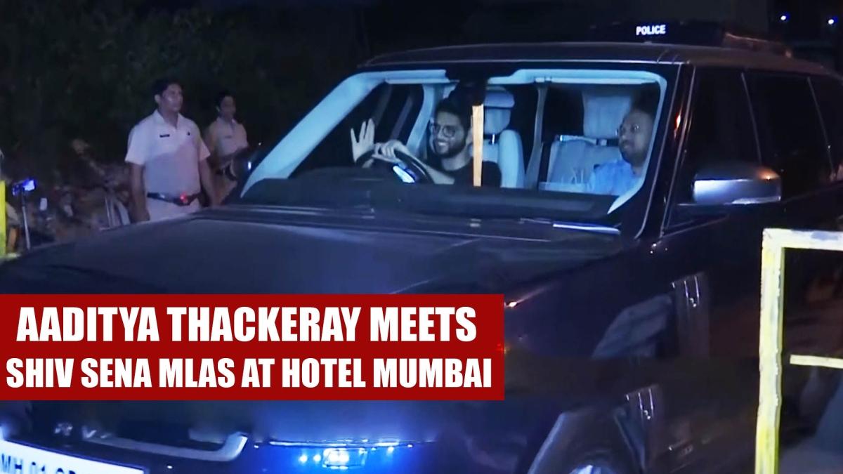 Aaditya Thackeray Meets Shiv Sena MLAs Staying At Hotel In Mumbai