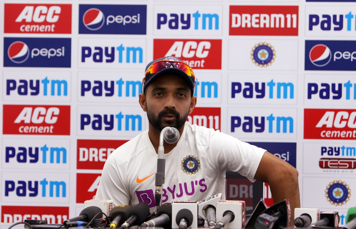 India's Ajinkya Rahane addresses a press conference ahead of the first test match between India and Bangladesh at Holkar Cricket Stadium in Indore on Tuesday.