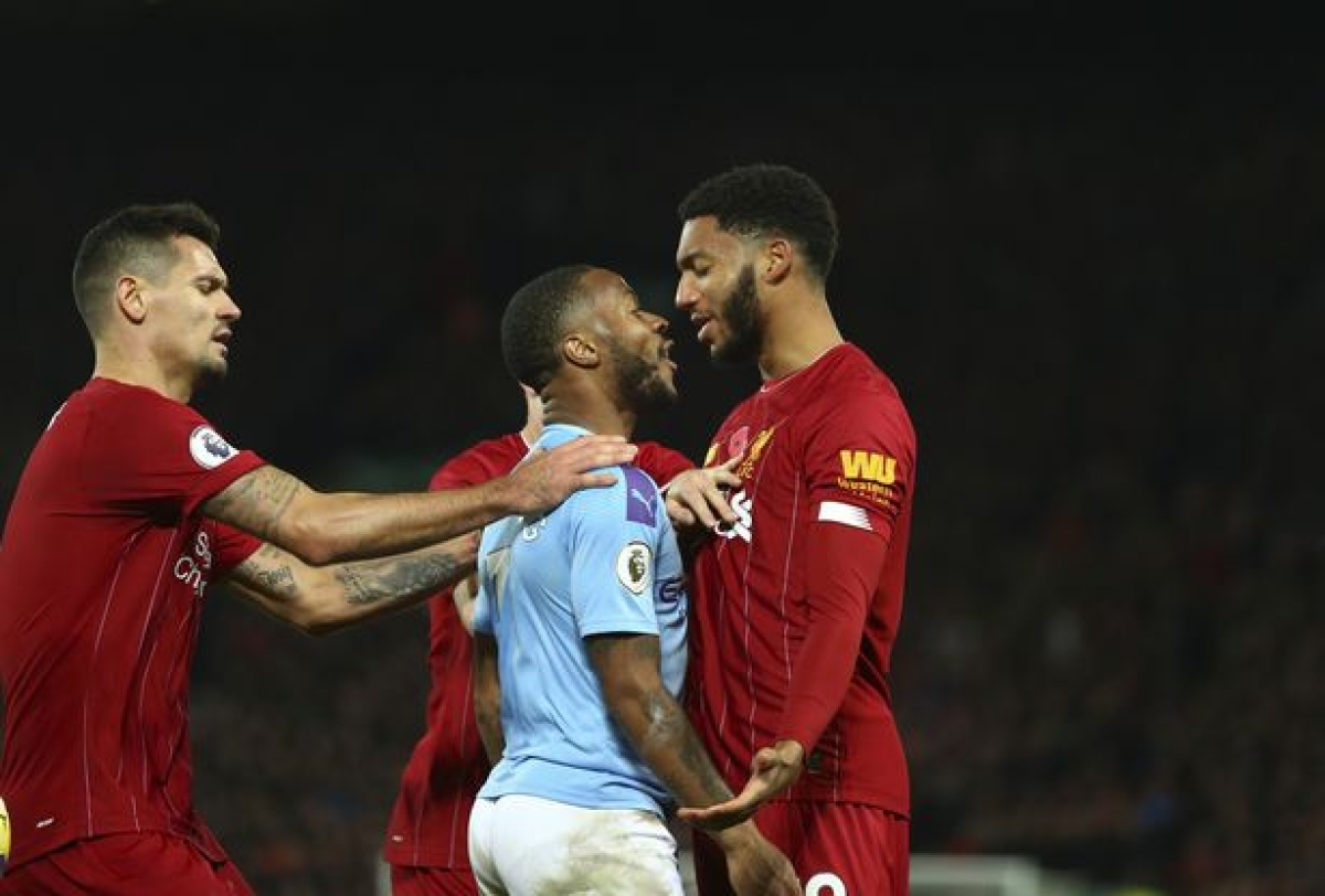 Man City striker Raheem Sterling was involved with Liverpool centre-back Joe Gomez during Liverpool's clash with Manchester City on Sunday.