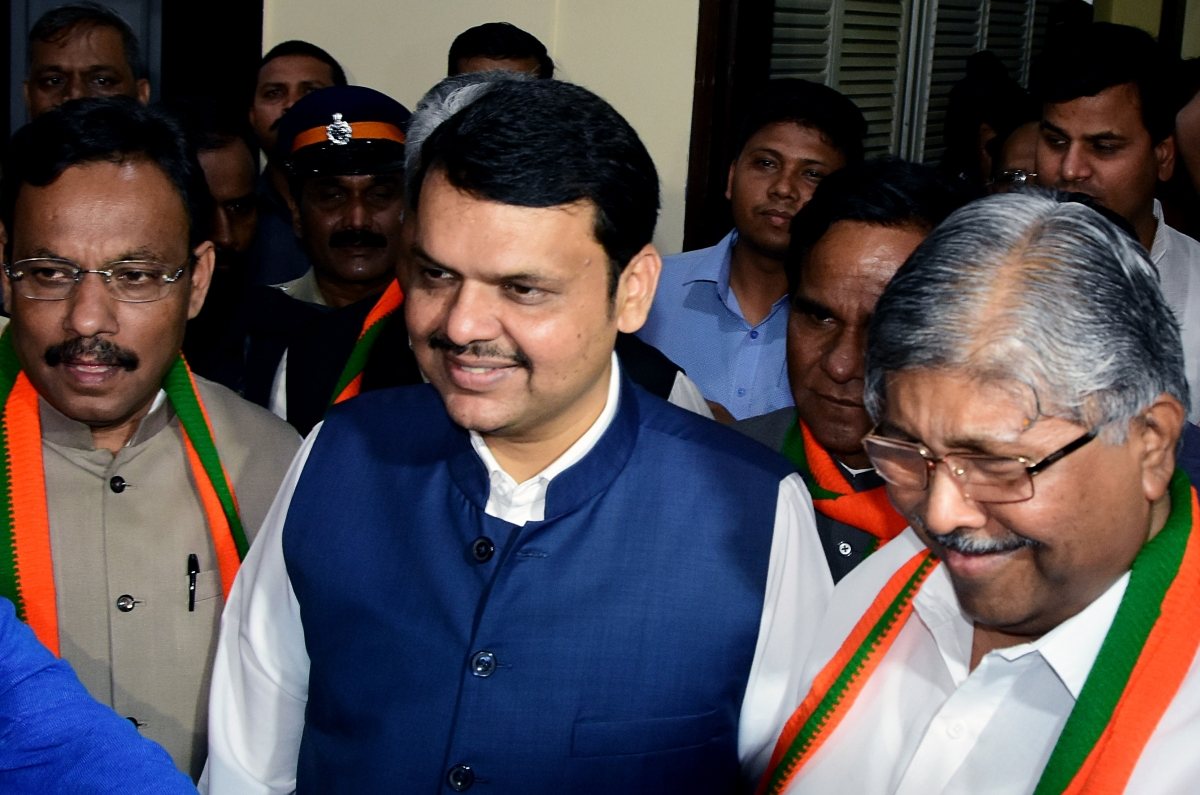 Former Maharashtra Chief Minister Devendra Fadnavis and Maharashtra BJP state President Chandrakant Patil