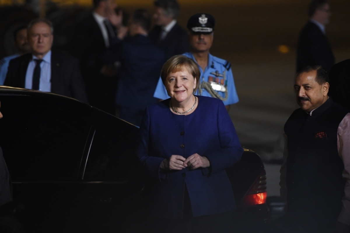 Merkel excused from standing for Indian, German national anthem during ceremonial reception