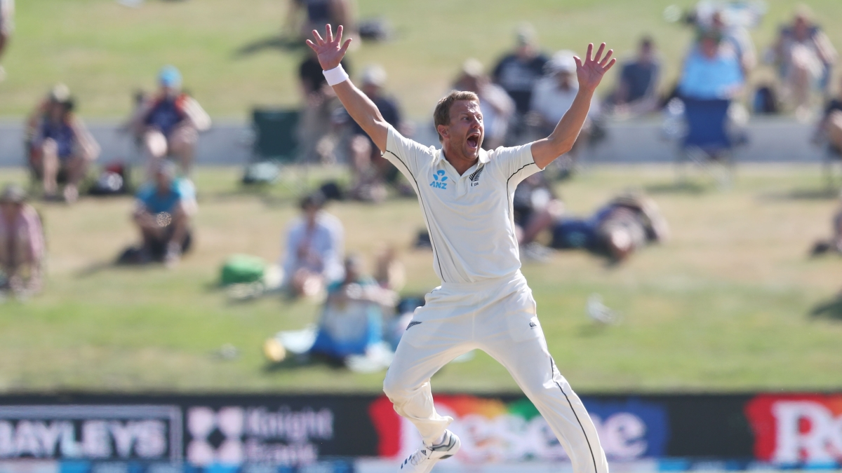 New Zealand's Neil Wagner celebrates the final wicket of England?s Stuart Broad during the fifth day of the first cricket test between England and New Zealand at Bay Oval in Mount Maunganui on November 25, 2019.