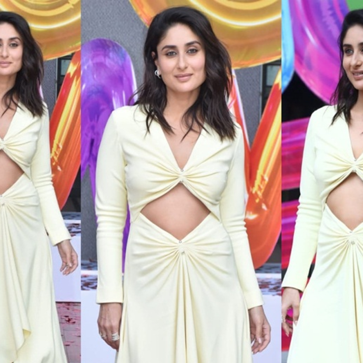 Kareena Kapoor Khan flashes her washboard abs in a gorgeous lime yellow dress
