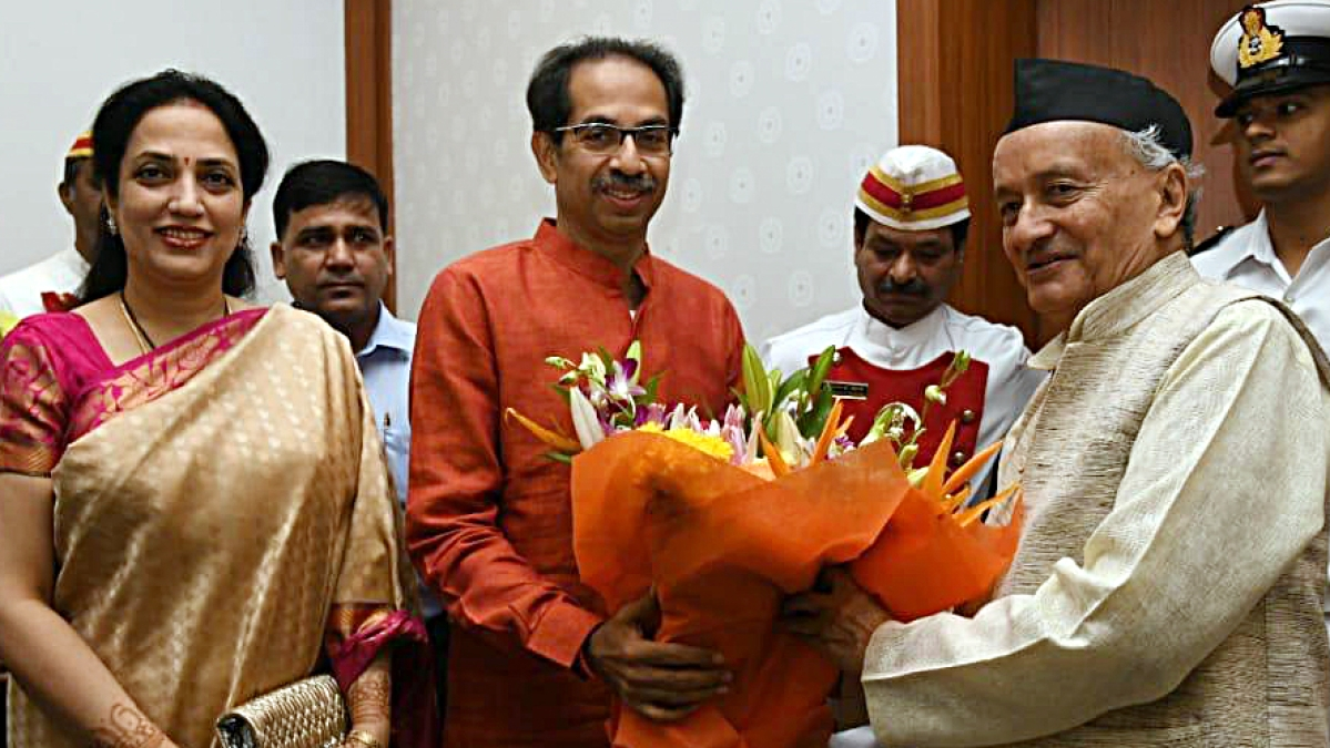 Shiv Sena Chief and 'Maha Vikas Aghadi' (NCP-Congress-Shiv Sena alliance) CM candidate, Uddhav Thackeray along with his wife Rashmi Thackeray meets Maharashtra Governor Bhagat Singh Koshyari at Raj Bhawan in Mumbai on Wednesday.