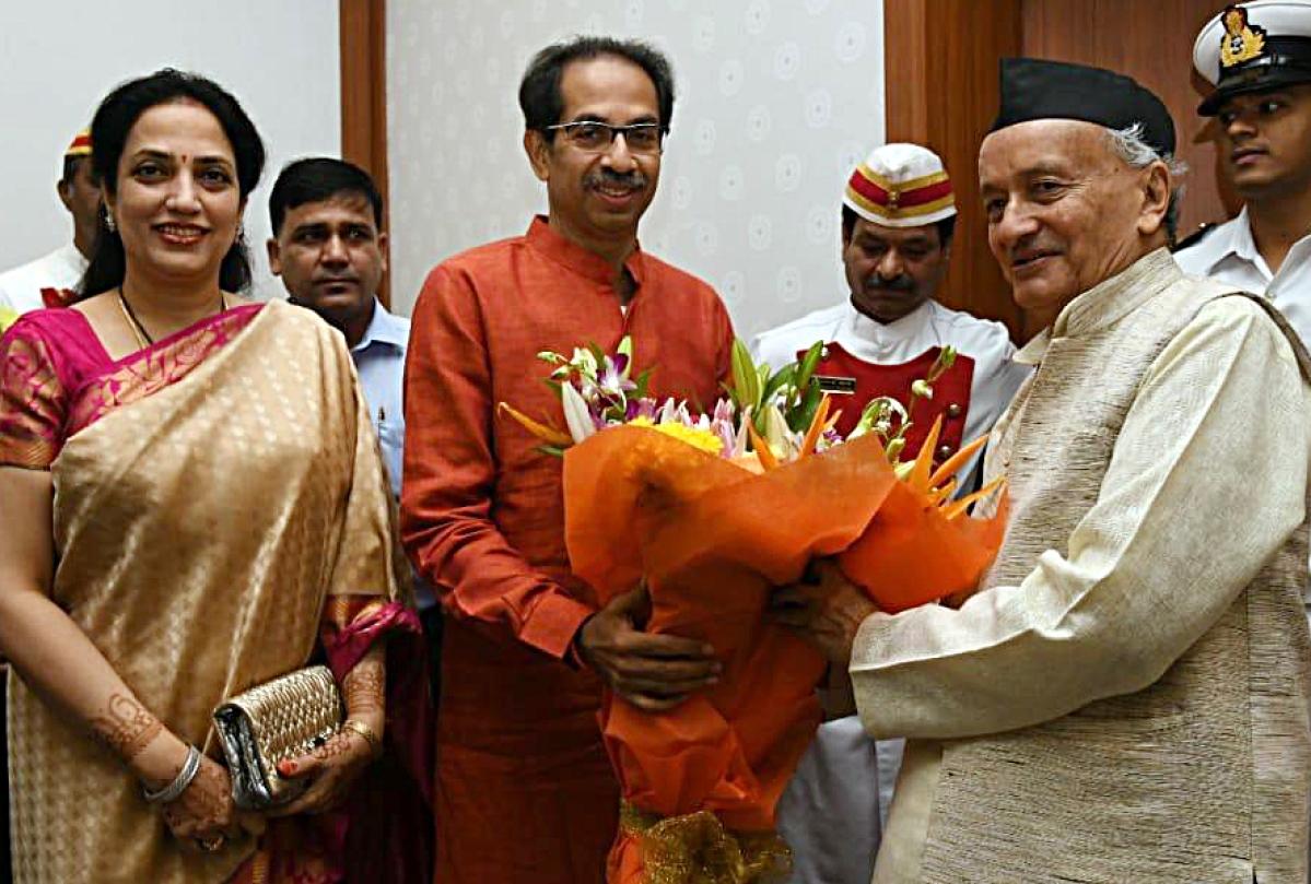 Shiv Sena Chief and 'Maha Vikas Aghadi' (NCP-Congress-Shiv Sena alliance) CM candidate, Uddhav Thackeray along with his wife Rashmi Thackeray meets Maharashtra Governor Bhagat Singh Koshyari at Raj Bhawan in Mumbai on Wednesday.