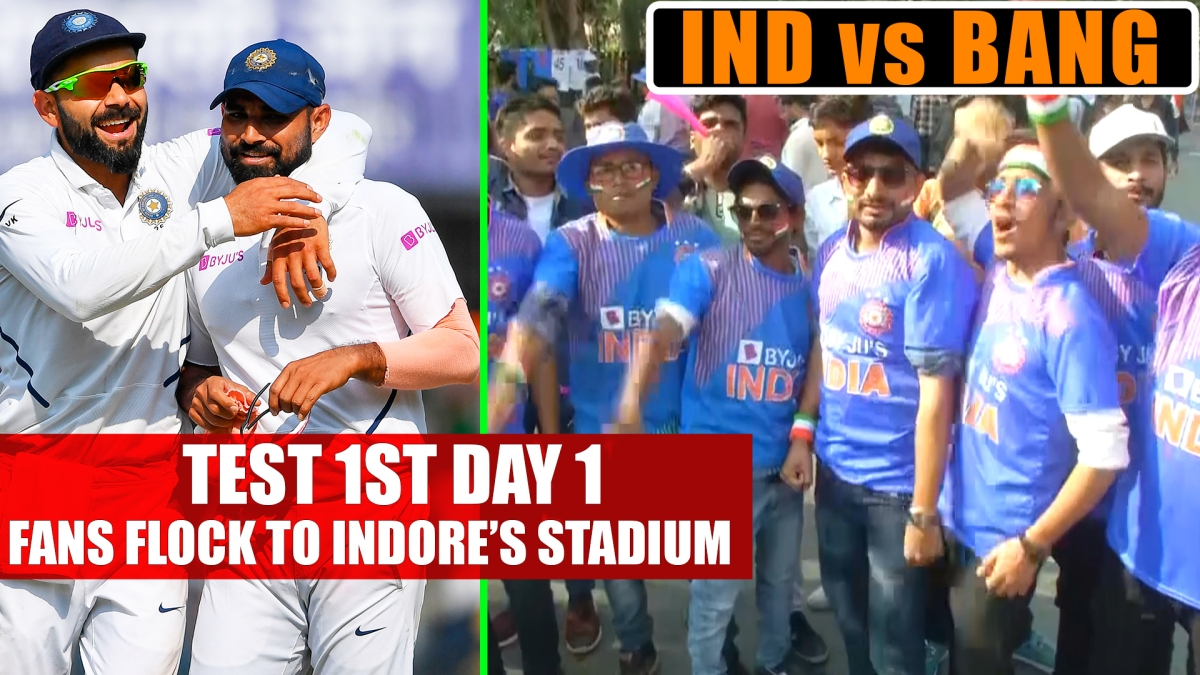 India vs Bangladesh Test 1st Day 1: Fans Flock To Indore's Stadium To Support Their Teams