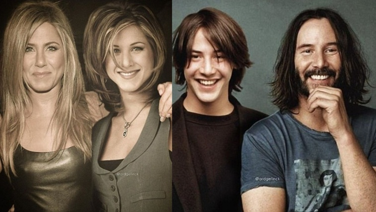 Jennifer Aniston to Keanu Reeves- Designer Photoshops throwback pics of celebs next to recent ones