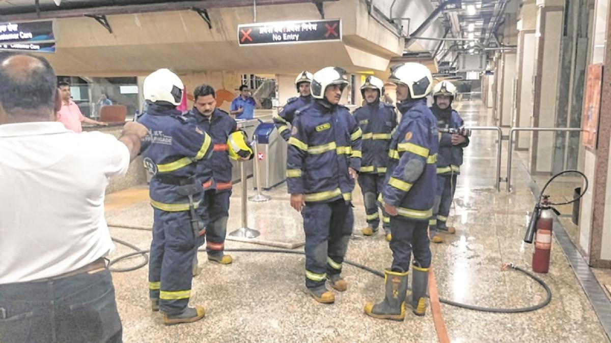 Mumbai: Mock fire drill at Metro One station