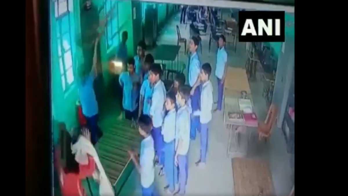 The incident that was caught on video shows Dubey talking to a group of students until one of them picks up a chair and starts beating her with it