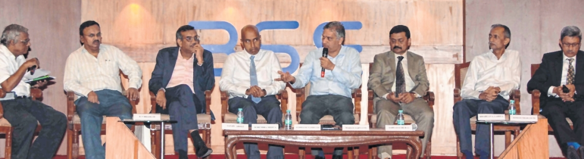 (L to R) R N Bhaskar, Consulting Editor; Sanjiv Arole, Gold columnist; Surendra Mehta, National Secretary, India Bullion & Jewellers' Association (IBJA); Sudheesh Nambiath, Head, India Gold Policy Centre (IGPC) of the Indian Institute of Management- Ahmedabad (IIM-A); Madan Sabnavis, Chief Economist, CARE Ratings Ltd; Sabyasachi Ray, ED, GJEPC; Bhargava Vaidya, Bullion Expert and Somasundaram PR, MD, World Gold Council India.