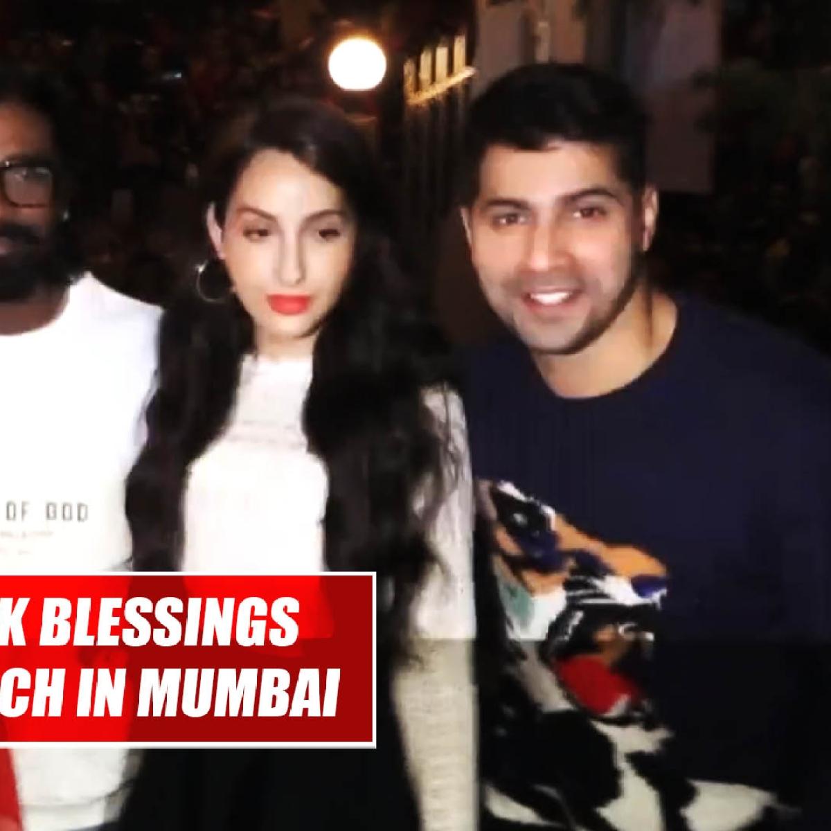 Varun Dhawan, Nora Fatehi seek blessings at Mount Mary church in Mumbai