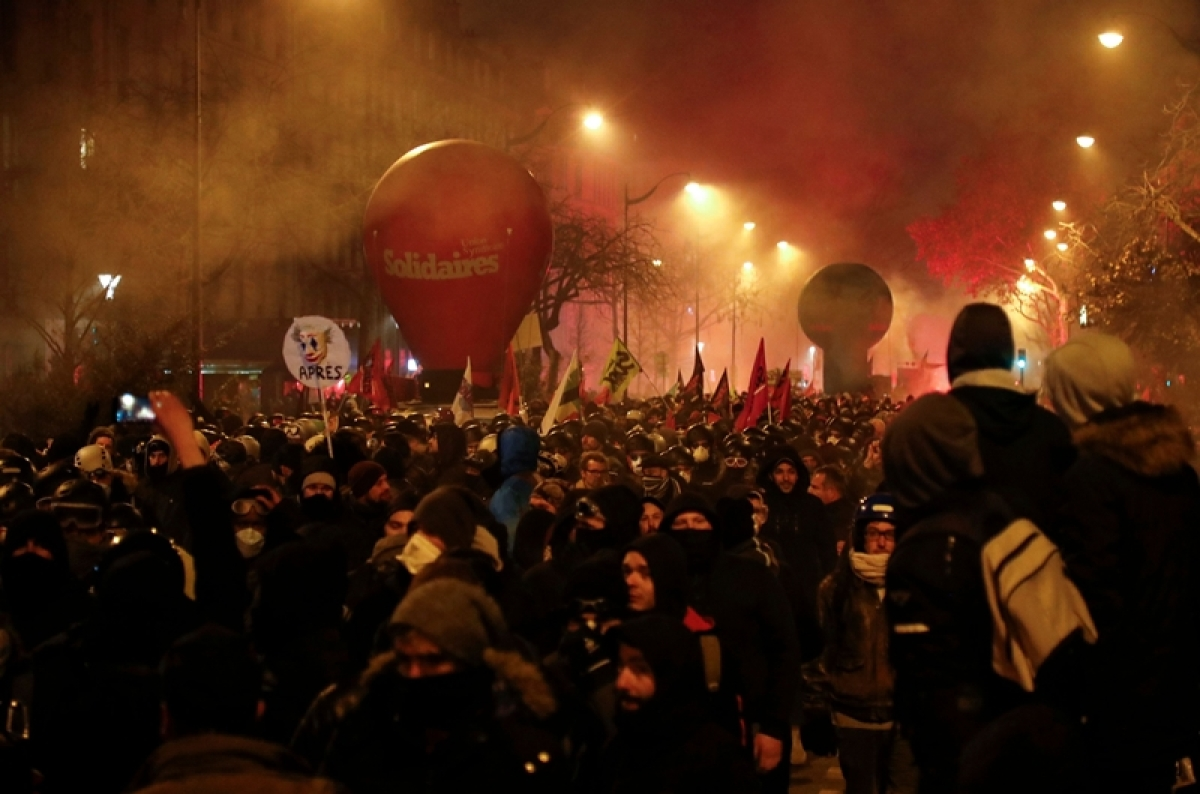 France comes to standstill as thousands hit the streets to protest against pension reforms