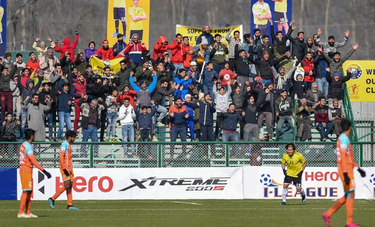 Real Kashmir fans turn in good numbers to support their team as they beat I-League champ from south (Chennai) in Srinagar