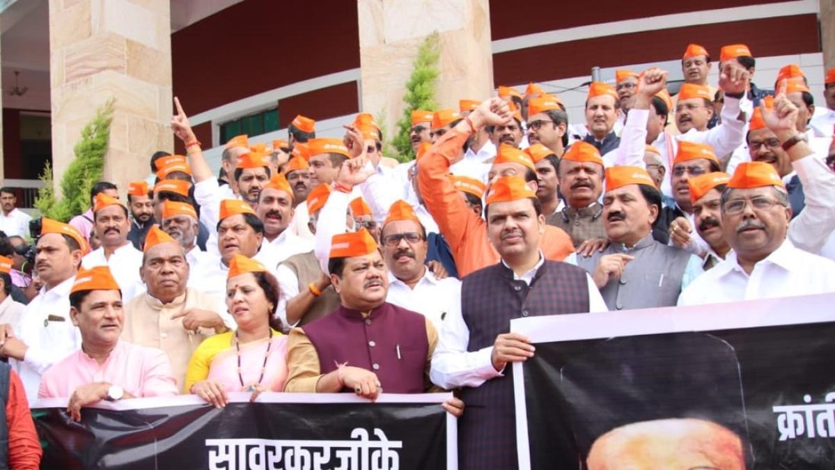 Din on day 1 of Maha session: BJP MLAs sport 'Savarkar' caps